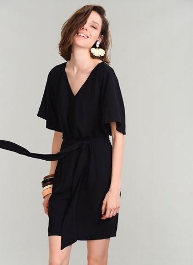 People By Fabrika Beli Bağlamalı Elbise Siyah